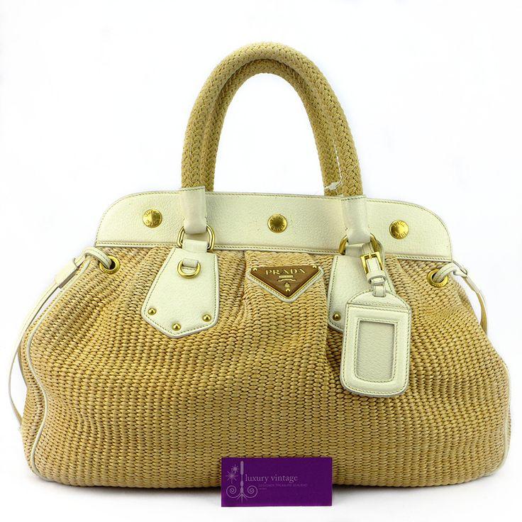 Prada Straw Frame Bag White Colour Leather Trim Good Condition ... - prada frame bag black + caramel