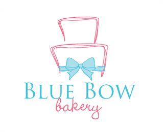 Cake logo design: Blue Bow Bakery