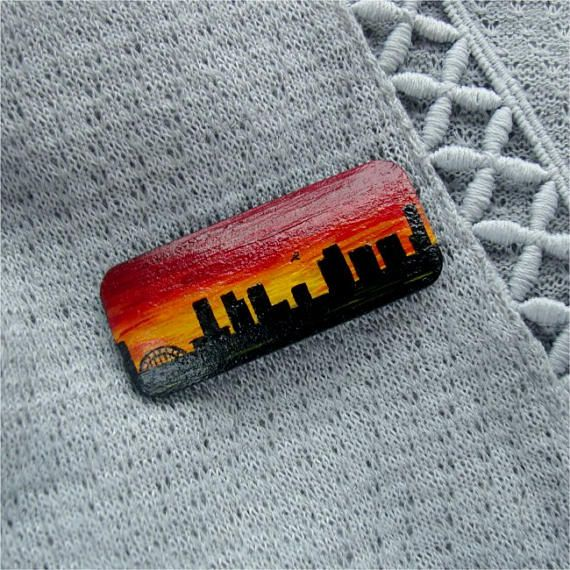 Evening city hand-painted wooden brooch gift for her suncet