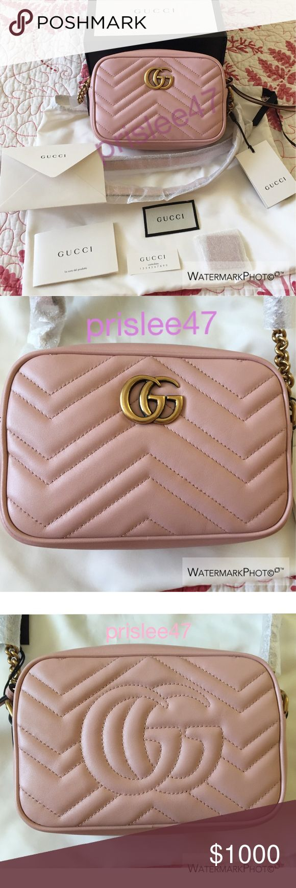 Authentic Gucci Marmont Mini in light pink Brand new with tag and strap wrapping still attached. Comes with box, dust bag, everything else that came in the bag as pictured. Purchased from a UK seller who bought it from the official Gucci UK website. Retails for $980 plus tax. This is the lowest I will go on here. Please let me know if you have any questions. $850 on Ⓜ️. $820 on 🅿. No trades. Gucci Bags Crossbody Bags