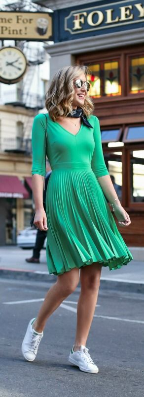 What to wear on St. Patrick's Day {kelly green pleated skirt dress, adidas sneakers, navy bandana + mirrored aviator sunglasses}