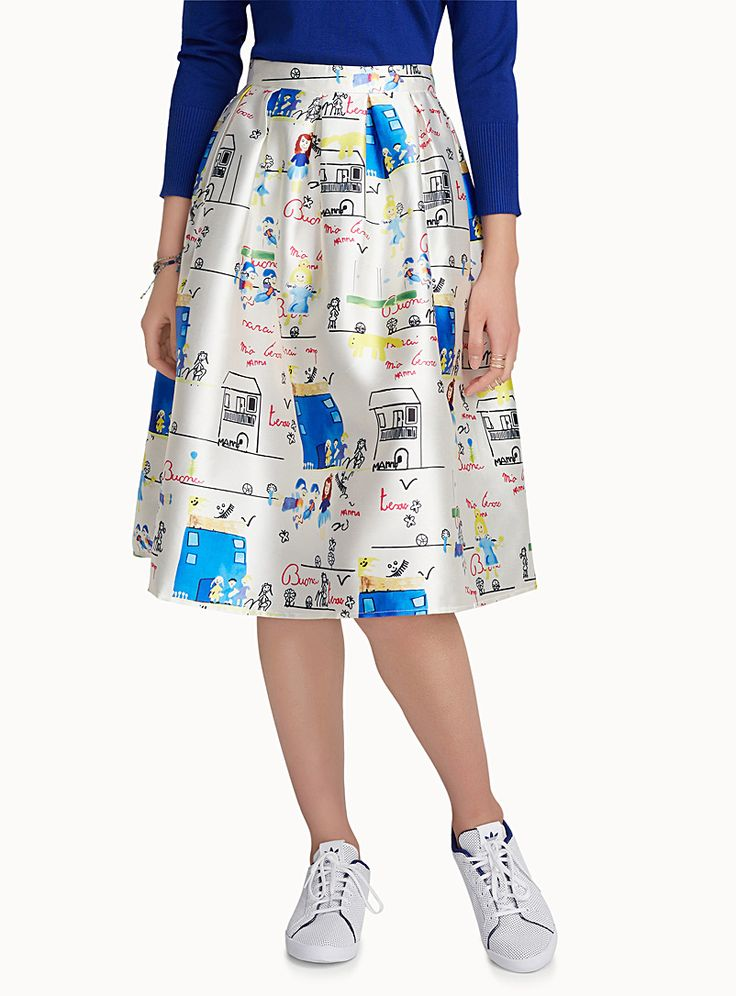 A colourful print reminiscent of the most beautiful children's artwork   Satiny structured weave   Hidden zip behind    The model is wearing size small