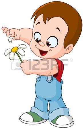 Küçük çocuk oyun o çiçek yaprakları ile beni seviyor beni seviyor photo