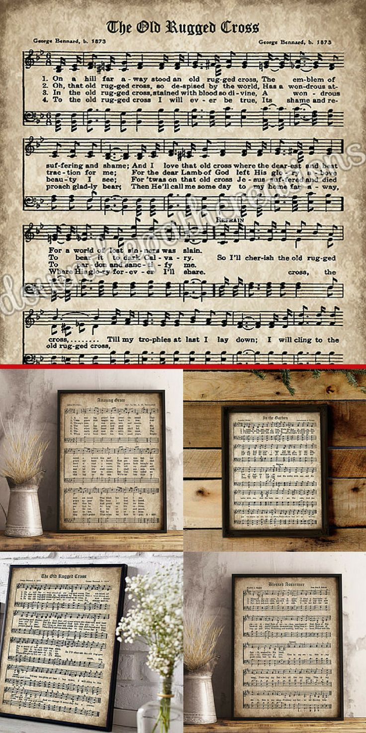 LOVE the idea of using printable vintage old hymns for farmhouse wall decor. Old Hymn Print Set of 5, Printable Vintage Sheet Music, Amazing Grace, Old Rugged Cross, Instant Download, Inspirational, Christian Art, PDF #ad