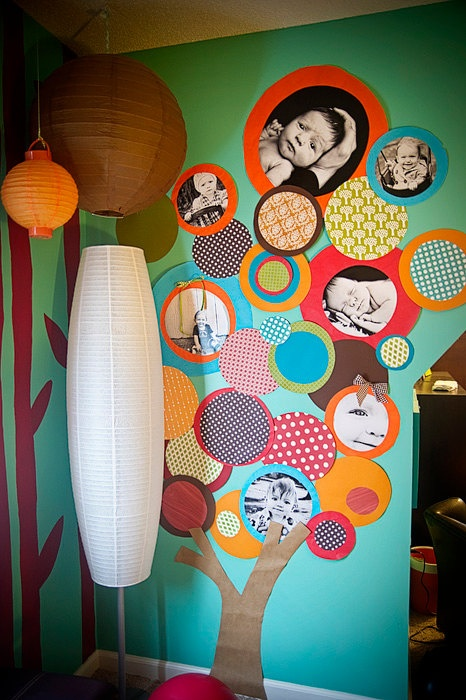 HUGE paper circle TREE with 6 photos for playroom or nursery, 7 ft. tall. $123.00, via Etsy. Cool idea for a play room