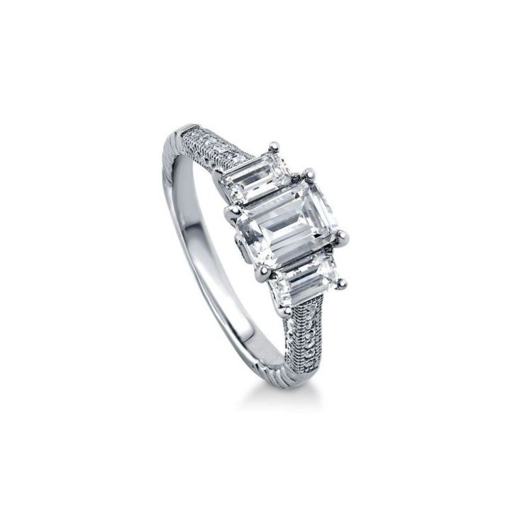 Spectacular  Stone Emerald Cut CZ Sterling Silver Micro Pave Engagement Ring Carat