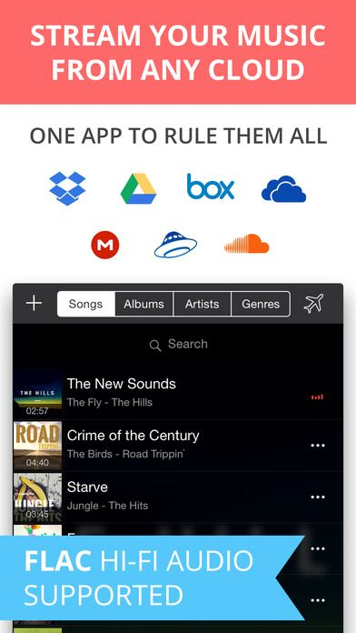 Eddy Cloud Music Player & Streamer Pro on App Store:   Meet Eddy Cloud. It allows you to create a personal streaming service with Dropbox GoogleDrive Box OneDrive Yandex.Disk SoundCloud and even your ...  Developer: Capable Bits  Download at http://ift.tt/1tianQe