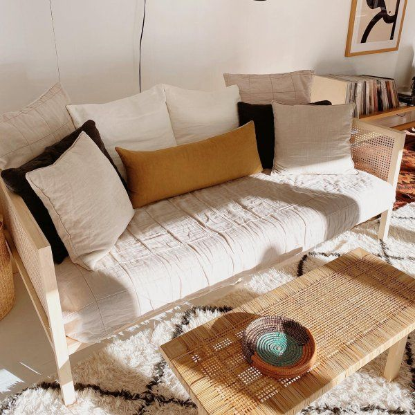 Boho Natural Daybed With Pearl White Mattress Cover Reviews Cb2 In 2020 Daybed Pillow Arrangement Daybed Pillows Mattress Covers