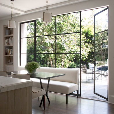 William Hefner Architecture Interiors \u0026 Landscape - Traditional kitchen with modern steel doors and windows. Also like the bench seating & 119 best Crittall images on Pinterest | French doors Living room ...