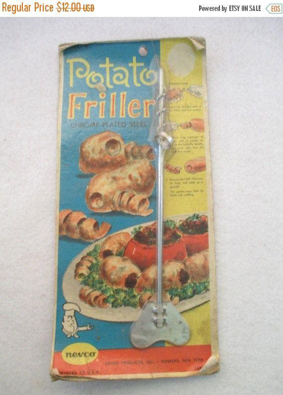 ON SALE Nevco Potato Friller, Vintage, Mid-Century, Curly Fries, Stuffed Potato, Original Package, Housewarming Gift, Vintage Retro 50's Kit by HobbitHouse on Etsy