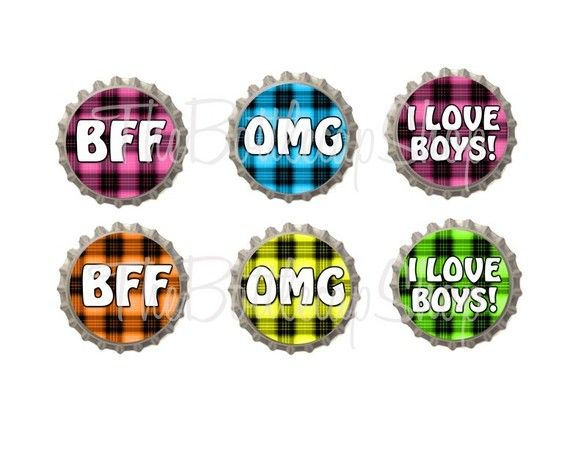 Neon plaid | Set of 6 - Neon Girly Plaid Sayings Bottlecaps - Ready To Use Bottle ...