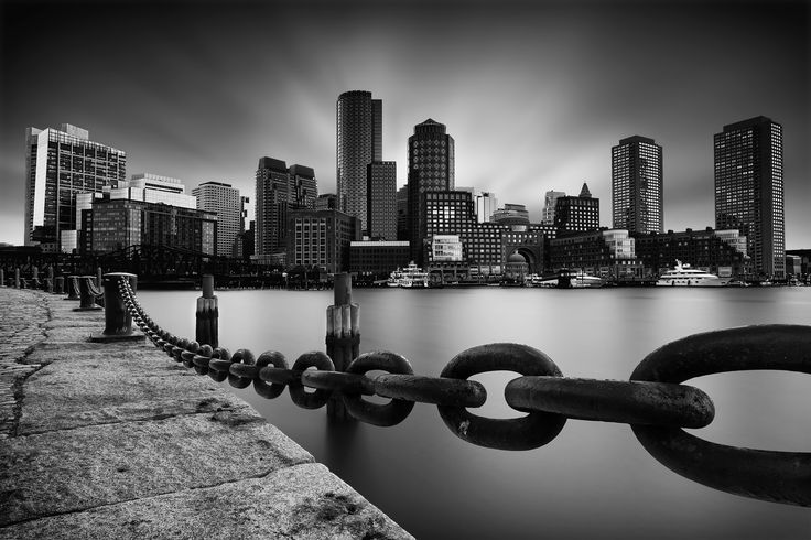 Boston Skyline - Skyline long exposure in Boston from Fan Pier Park. Focus…