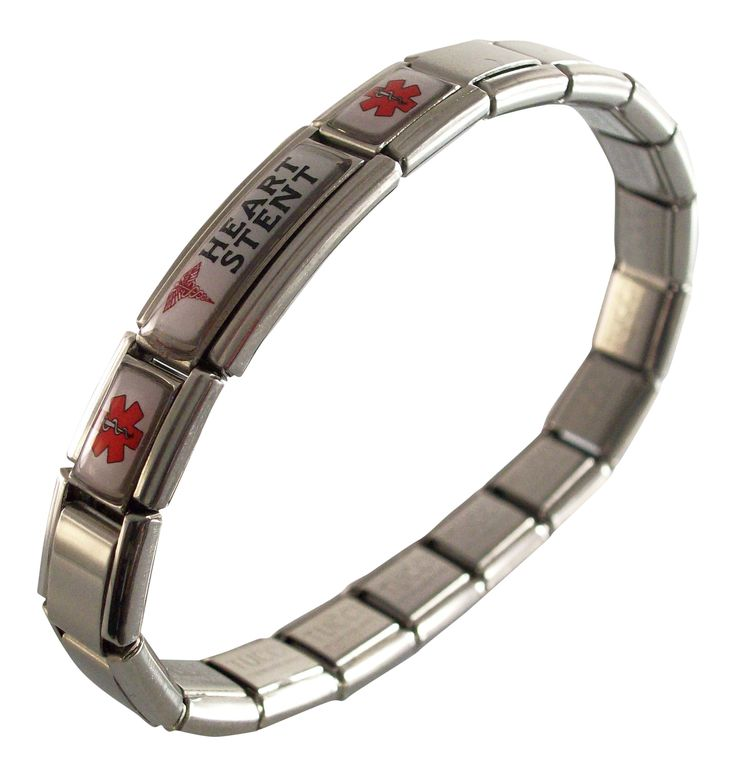Heart Stent Medical ID Alert Italian Charm Bracelet. Any Size. stainless steel bracelet, stretches over your hand. FREE sizing of your bracelet. links or charms can be taken out, more added, moved around. you will receive instructions on how to take out or add links or charms.