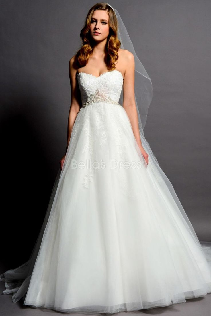 Classic Tulle A line Floor Length Sweetheart Empire Waist Wedding Dress