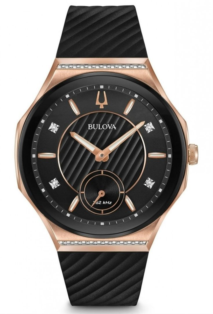 Bulova Curv Ladies Diamond Watch 98R239  I love how this watch is curve to fit your hand. I'm in love with this watch. with the mix of rose gold and silicon band makes it look stunning, i would purchase this watch for myself.
