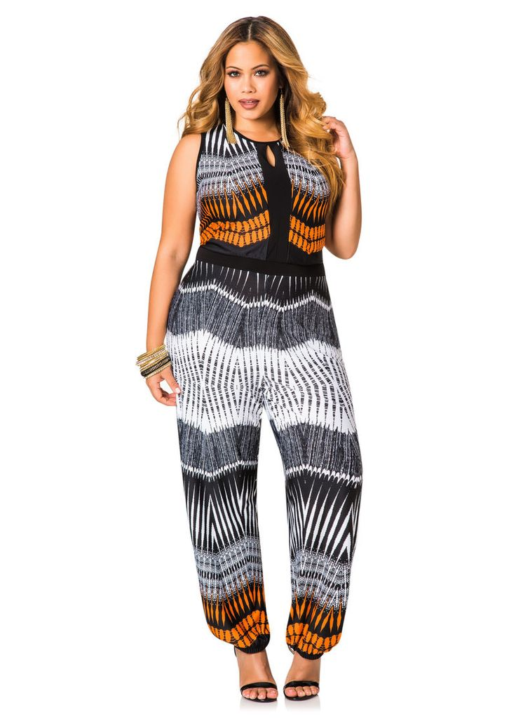 Printed Jogger Jumpsuit - Ashley Stewart