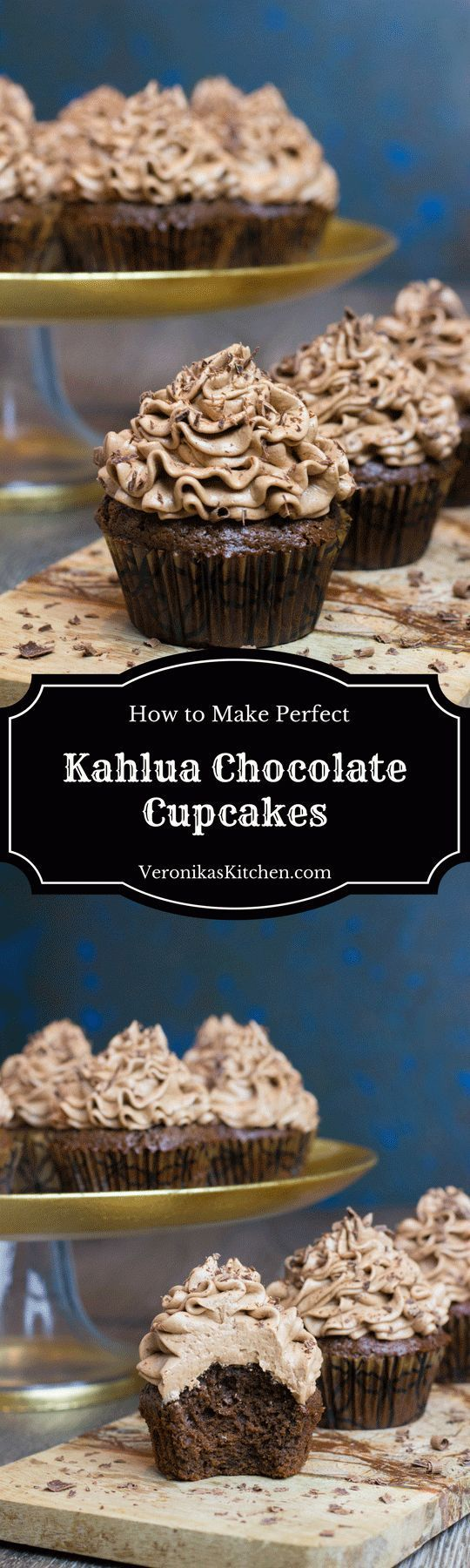Kahlua Chocolate Cupcakes are a perfect dessert idea for chocolate and coffee lovers, featuring rich and decadent chocolate and coffee flavor with a touch of Kahlua. (#cupcakesideas, #chocolatecupcakes, #kahluacupcakes, #cupcakerecipeideas, #cupcakeideas, #chocolatedesserts, #dessertswithchocolate, #holidaydessertideas, #Christmasdesserts, #Christmasdessertideas)