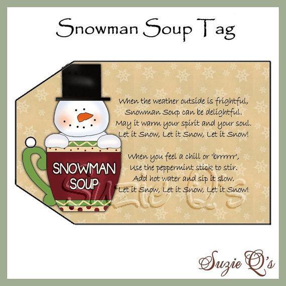 Snowman Soup Tag  - CU Digital Printable - Good Craft Show Seller - Immediate Download