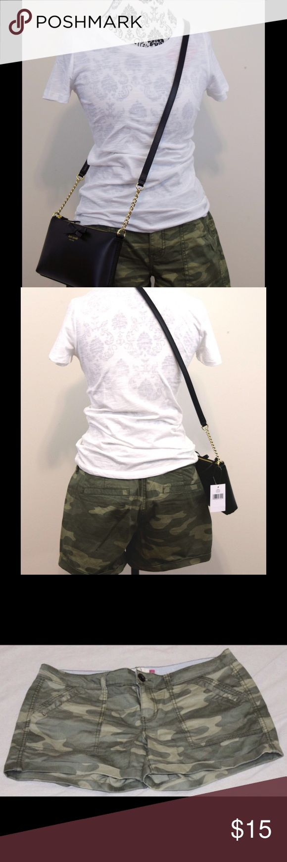 "NWOT Camo Shorts New without tags, never worn! Camo cuffed  shorts with back slit pockets. 3.5"" inseam, 98% cotton, 2% spandex. Size 11. Complete the look- shirt and purse also available. Bundle the outfit and save 10%! SO Shorts"
