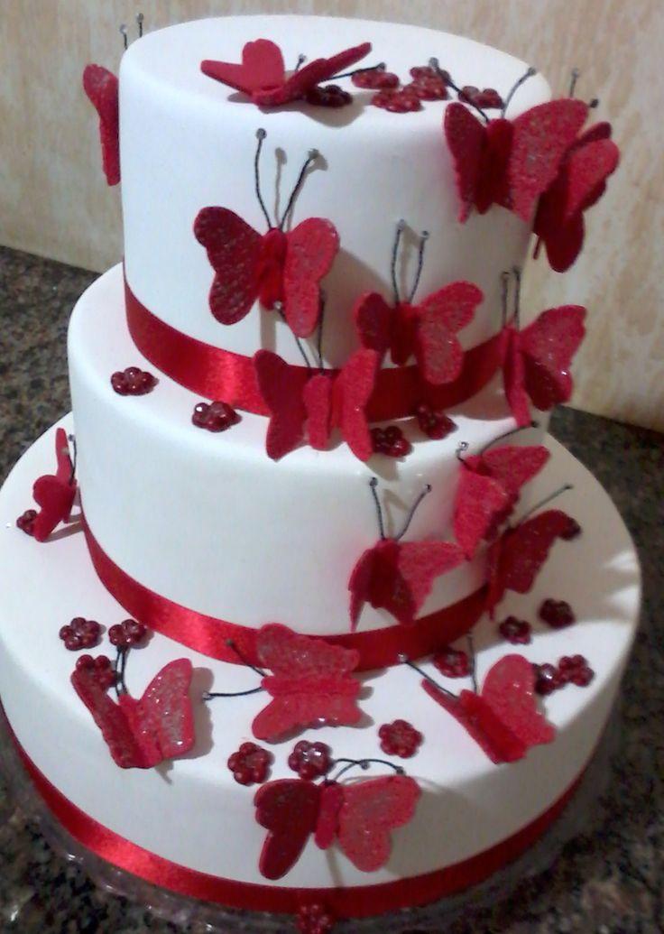 Resultado de imagem para bolo fake borboletas