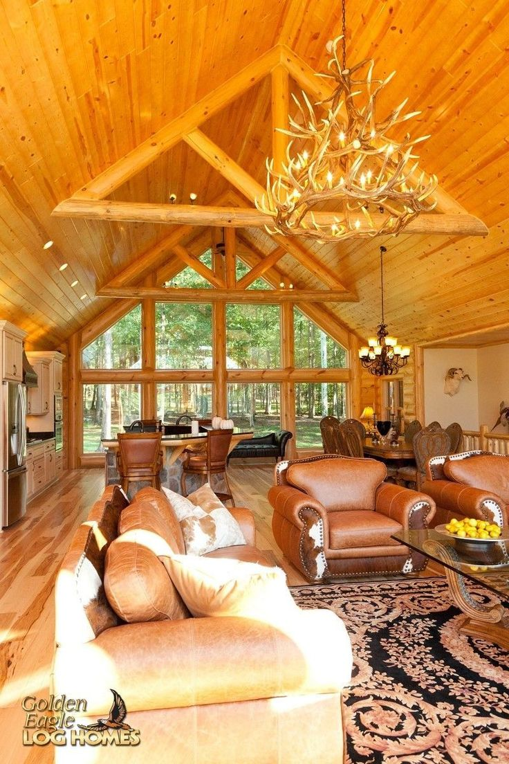 Log Home By Golden Eagle Log Homes - golden eagle log logs cabin home homes house houses rustic knotty pine custom design designs designer floor plan plans kit kits building luxury built builder complete package packages interior exposed beam king trust living room great dining kitchen open concept large big wooden cathedral ceiling lakehouse ranch #luxuryrustichomes #loghomeinteriorsrustic