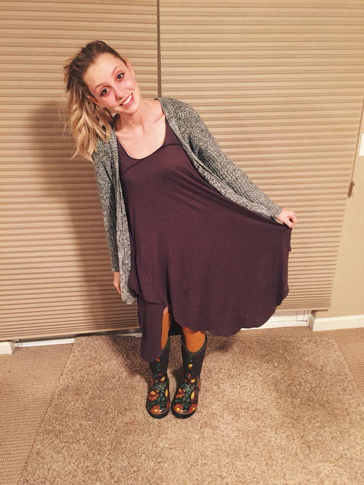 DRESSEMBER DAY 27: gray dress - free people    Cardi - gap    boots - bogs    socks - target