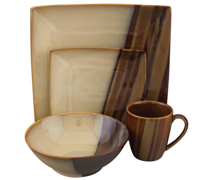 The Sango Avanti Brown Dinnerware Set features several shades of rich earthy brown reactive glazes to create a striking contemporary dinnerware design.
