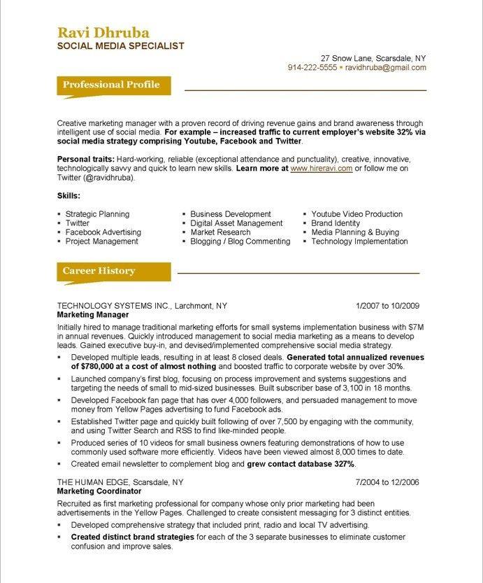 20 best Marketing Resume Samples images on Pinterest Marketing - marketing coordinator resume sample