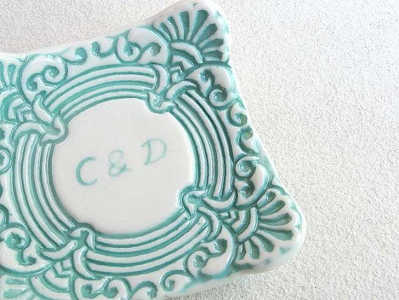 Ceramic wedding ring dish with hand by SpringwoodPorcelain on Etsy