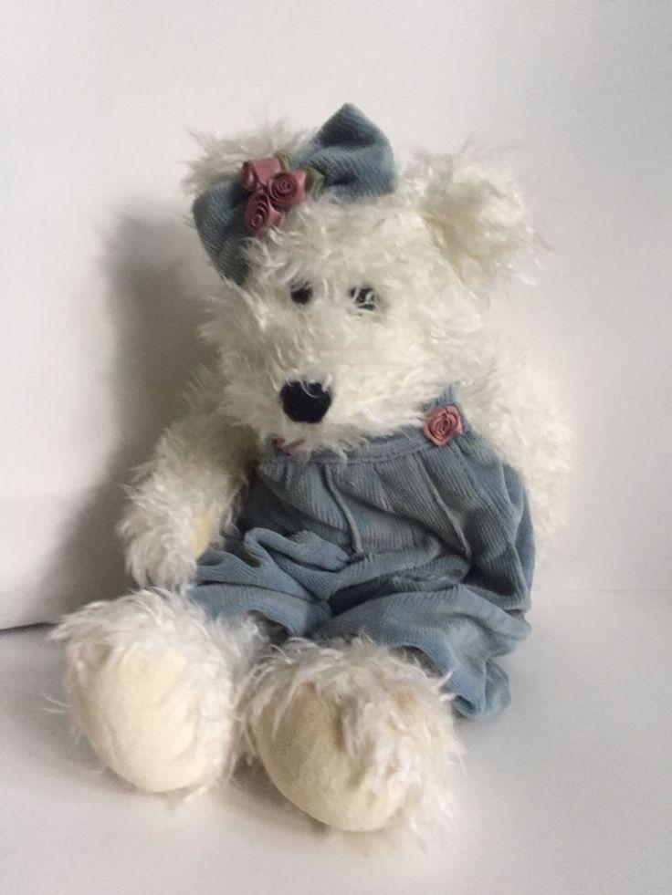 Boyds Bears Stuffed Plush Mohair Teddy Bear Blue Overalls #Boyds