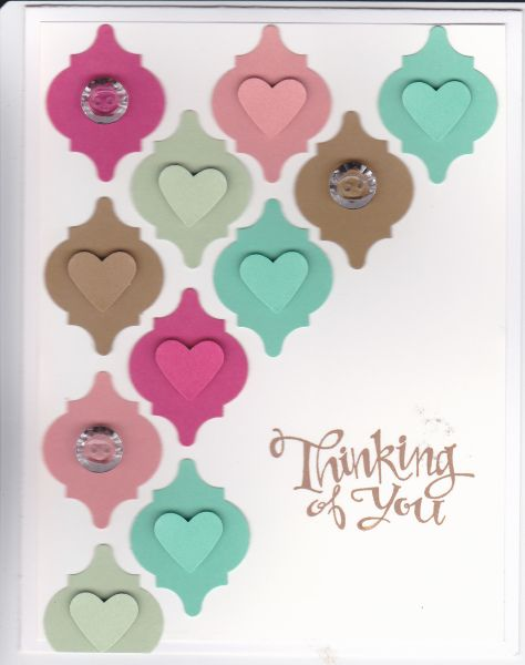 handmade card ... Mozaic punches from 2013-2015 In Colors ... punched heart fits perfectly on top ... like the half card diagonal block placement with the sentiment snuggling in ... Stampin' Up!