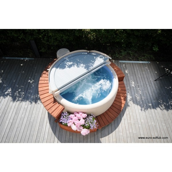 Such a simple and beautiful design for a softub! Hot tubs are so beneficial to everyday life and can really aid in stress relief and relaxation!