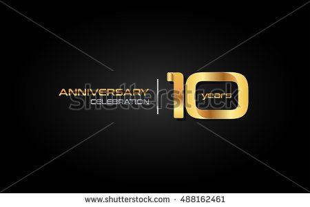 10 years gold anniversary celebration logo, isolated on dark background
