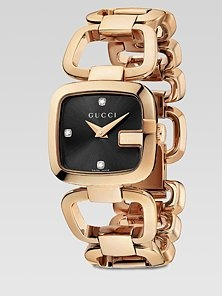 Gucci - Diamond Accented Pink Goldtone Physical Vapor Deposition Watch