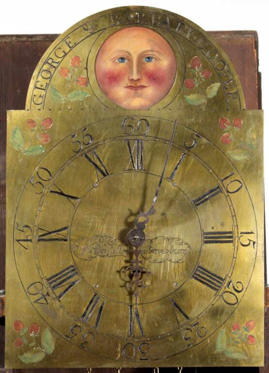 Detail of George Cordell tall-case clock.