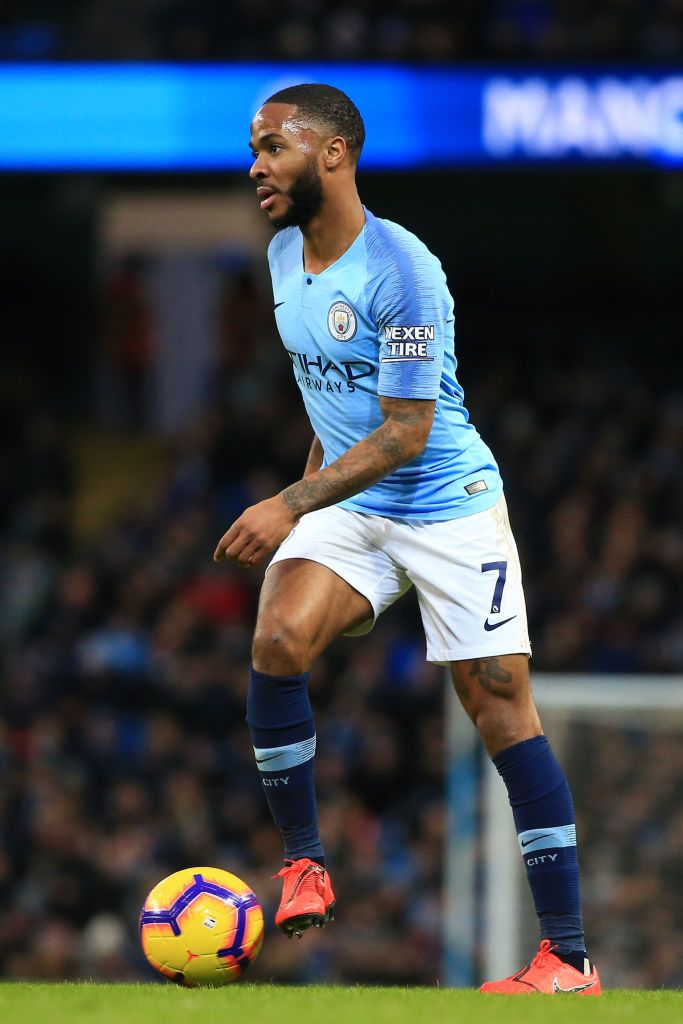 Raheem Sterling Of Manchester City Controls The Ball During