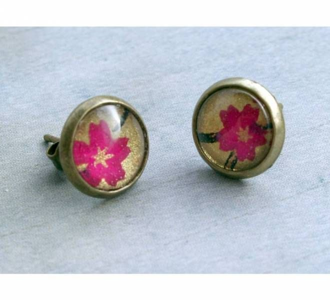 Jaded Seas stud earrings - fushia blooms on gold
