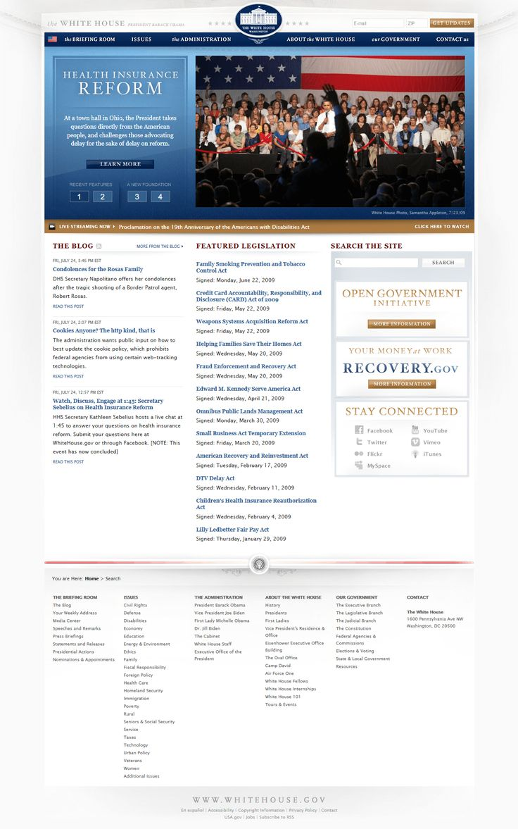 The White House website in 2009