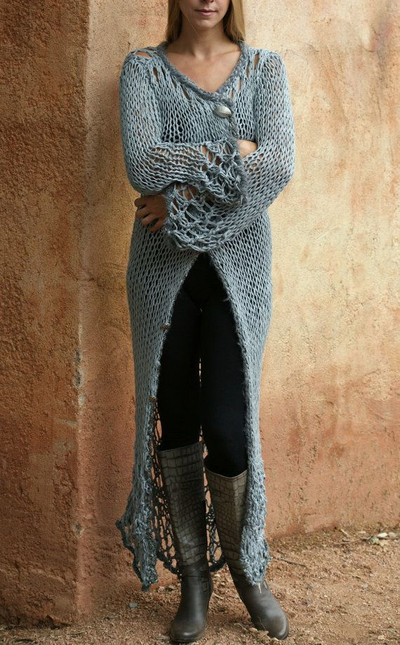 Grey Silver Lace Knit Sweater Coat