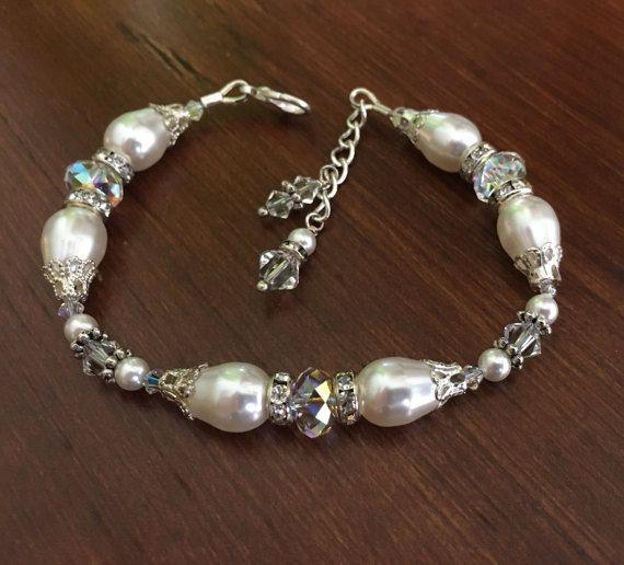 Braccialetto nuziale Pearl e bracciale di di HisJewelsCreations