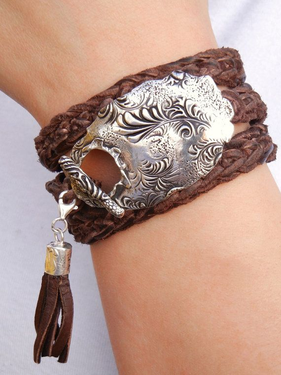 Hippie Jewelry Stacked Leather Wrap Bracelet Boho by HappyGoLicky, $145.00