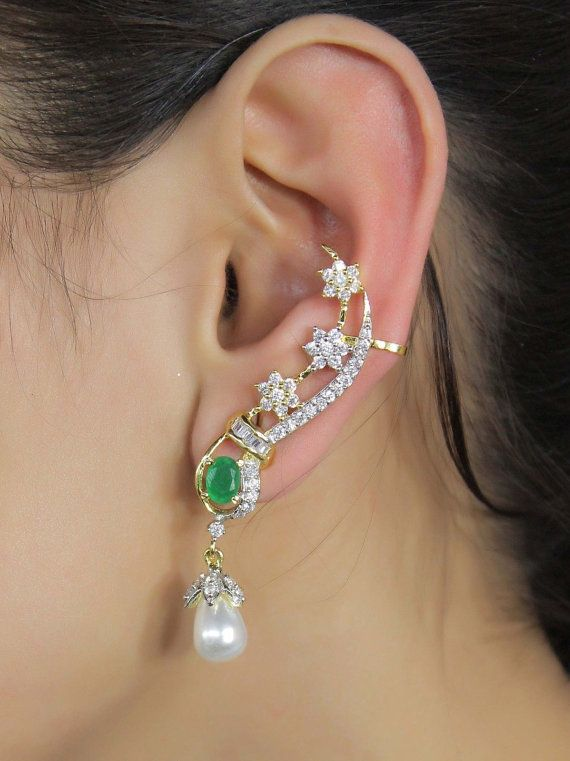 Indian Bollywood Gorgeous Ethnic Style Party Wear Ear Cuff Fashion Jewelry