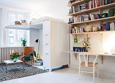 living + work space + lofted bed...via la maison d'anna g