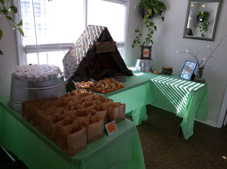 Camping Themed Baby Shower Food Table