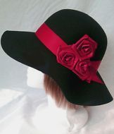 LADIES BLACK FELT/WOOL FLOPPY HAT WITH RED BAND AND ROSES - new with tags