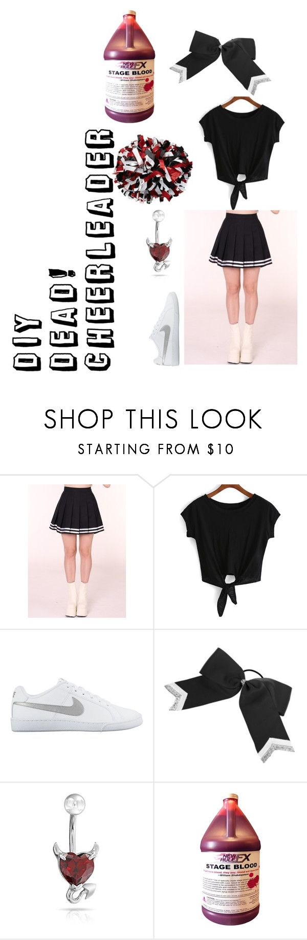 """""""DIY Dead! Cheerleader Costume"""" by demonica-slaughter ❤ liked on Polyvore featuring NIKE, claire's and Bling Jewelry"""