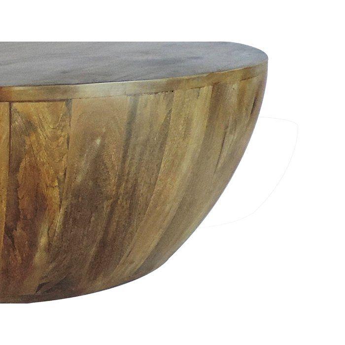 Beliveau Solid Wood Drum Coffee Table Coffee Table Wood Mango