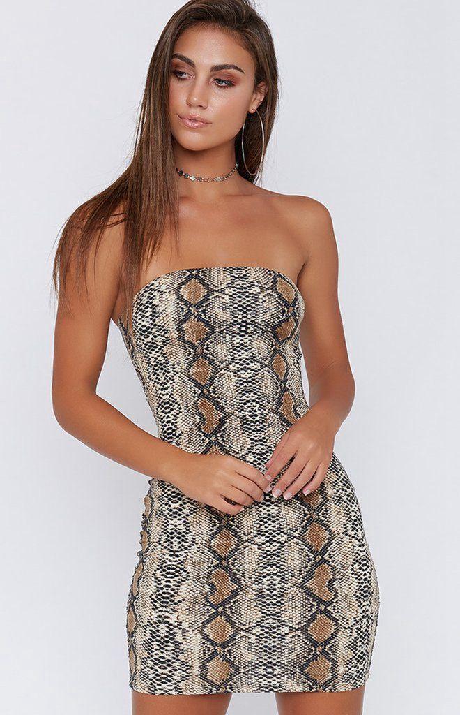 9822c41996b6 Women's Sleeveless Strapless Snake Skin Bodycon Dress | Sexy clothes ...