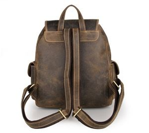 Image of Top Grade Crazy Horse Leather Men's Travel Backpack Bag Coffee Color New Arrival--FREE SHIPPING