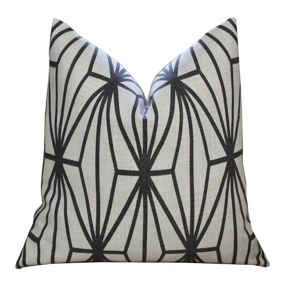MAK Home. Kelly Wearstler's renowned Channel patterned pillow makes an elegant and bold statement. Made from authentic Kelly Wearstler fabric, Wearstler's signature hand-painted design is seen here in